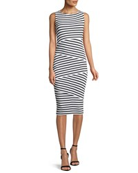 Bailey 44 Sleeveless Layered Stripe Fitted Column Dress White Black