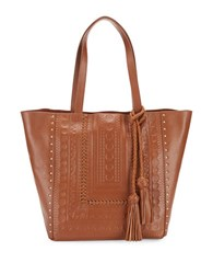 Steve Madden Indie Leather Embossed Tote Cognac