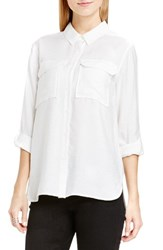 Vince Camuto Women's Two By Hammered Satin Utility Shirt New Ivory