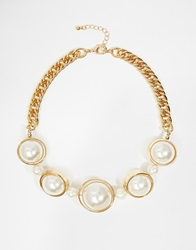 Warehouse Chunky Faux Pearl Collar Necklace Cream