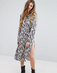 Qed London Snake Print Shirt Dress Black Beige Multi