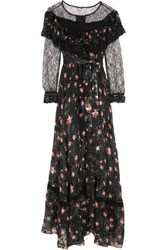 Preen By Thornton Bregazzi Lydia Lace Paneled Printed Devore Silk Blend Chiffon Gown Black