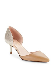 Enzo Angiolini Contrast Leather D'orsay Pumps Taupe Natural