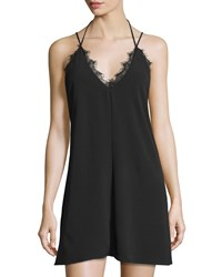 On The Road Amber Scalloped Lace V Neck Dress Black