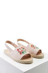 Forever 21 Faux Suede Floral Espadrilles Nude