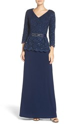Alex Evenings Women's Embellished Lace And Jersey Gown