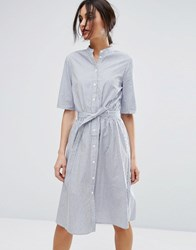 Vero Moda Pinstripe Belted Shirt Dress Multi
