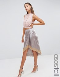 Asos Tall Boudoir Wrap Lace Trim Slip Skirt Grey