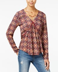 One Hart Juniors' Printed Crochet Trim Ruched Top Only At Macy's Rose Floral