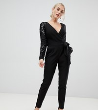 Little Mistress Wrap Front Jumpsuit With Sequin Sleeves And Exposed Back Black