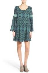 Sun And Shadow Print Bell Sleeve Shift Dress Green