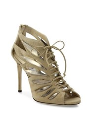 Jimmy Choo Keena 100 Cutout Suede Lace Up Sandals Nude