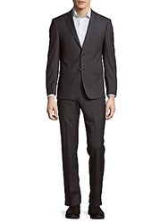 Michael Kors Solid Structured Suit Charcoal