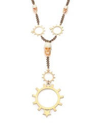 Givenchy Rosary Pendant Necklace Brass