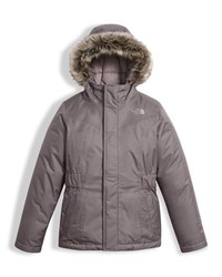 The North Face Greenland Down Parka W Faux Fur Trim Gray