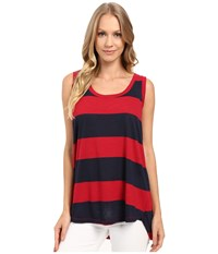 Allen Allen Stripe Hi Low Tank Top Red Women's Sleeveless