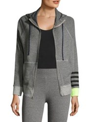 Sundry Heathered Zip Front Sweatshirt Heather Grey
