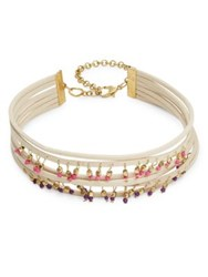 Design Lab Lord And Taylor Multi Row Beaded Choker Necklace Gold