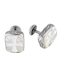 Konstantino Color Classics Sterling Silver And Mother Of Pearl Cross Cuff Links