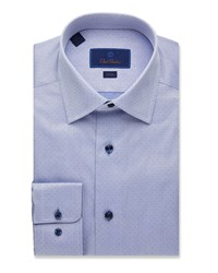 David Donahue Slim Fit Micro Dot Dress Shirt Blue