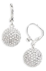 Nina Women's Pave Ball Drop Earrings Silver