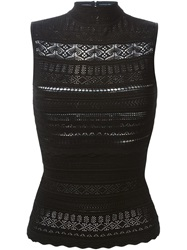Alexander Mcqueen Victorian Lace Knit Top Black