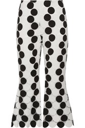 Paper London Cropped Polka Dot Guipure Lace Flared Pants White