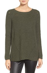 Trouve Women's Cross Back Sweater Olive Sarma Heather
