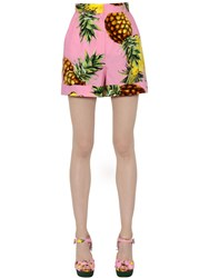 Dolce And Gabbana Pineapples Printed Cotton Poplin Shorts