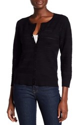 Cable And Gauge Ribbed Pointelle Knit Cardigan Black