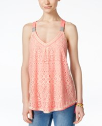 Jolt Juniors' Crocheted Tank Top Sherbert