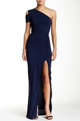 Yigal Azrouel One Shoulder Ruched Gown Blue