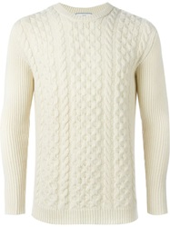 Ami Alexandre Mattiussi Cable Knit Sweater White