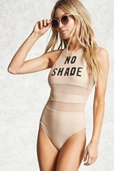 Forever 21 No Shade Graphic One Piece Nude Black
