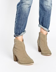 Asos Each And Everyone Wide Fit Western Leather Ankle Boots Sand