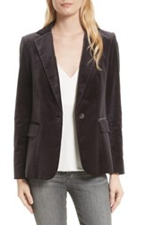 Frame Women's Stretch Velvet Blazer Charcoal