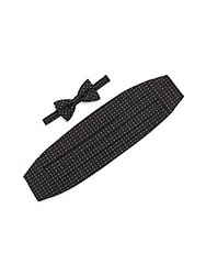 Ike Behar Printed Silk Cummerbund And Bow Tie Set Black