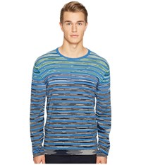 Missoni Line Sfumata Long Sleeve Sweater Blue Men's Sweater