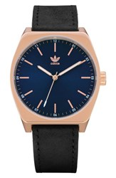 Adidas Process Leather Strap Watch 38Mm Rose Gold Navy Black