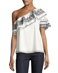 Parker Mary Embroidered One Shoulder Blouse White
