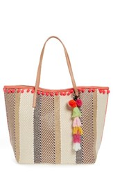 Sondra Roberts Striped Ball Fringe Tote And Wristlet