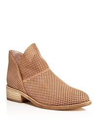 Eileen Fisher Leaf Perforated Nubuck Leather Booties Wheat