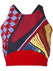 Versace Cropped Patterned Top Red