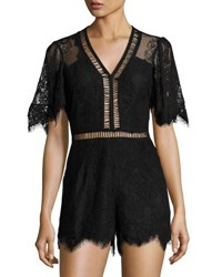 Lovers Friends Josephine Short Sleeve Lace Romper Black