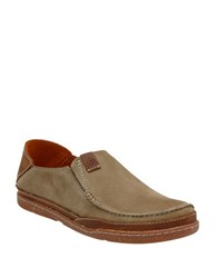 Clarks Trapell Nubuck Loafers Olive