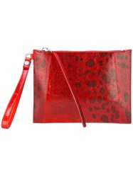 Rick Owens Printed Clutch Bag Red