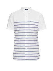 Polo Ralph Lauren Short Sleeved Striped Cotton Shirt Blue White