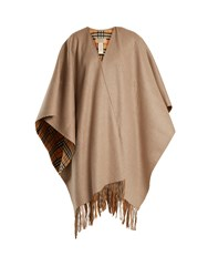 Burberry Classic House Check Reversible Cashmere Blend Wrap Beige