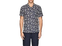 Blank Nyc Floral Linen Cotton Camp Shirt Blue