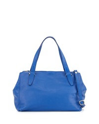 Neiman Marcus Made In Italy Double Zip Satchel Bag Blue